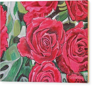 Wood Print featuring the painting Delight Of Grandma's Roses Painting by Kimberlee Baxter
