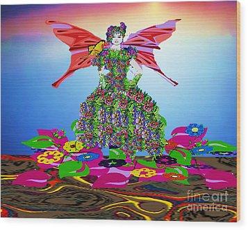 Delightful Bed Of Flowers Wood Print by Belinda Threeths