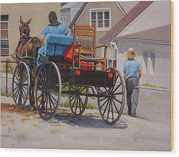 Delivering The Chair Wood Print by Todd Baxter