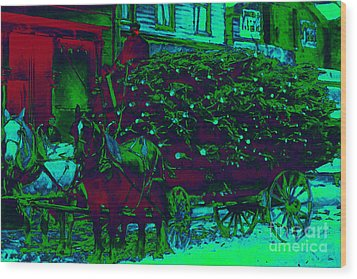 Delivering The Christmas Trees - 20130208 Wood Print by Wingsdomain Art and Photography