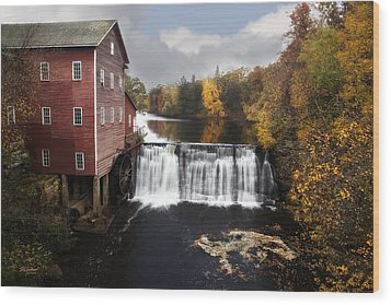 Dells Mill Fall Color Wood Print