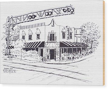 Delray Beach Restaurant. Vic Angelos On Atlantic Ave. At Railroad Crossing. Florida. Wood Print