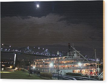 Delta Queen Under A Full Moon Wood Print by Kathy  White