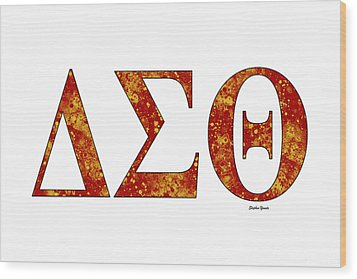 Wood Print featuring the digital art Delta Sigma Theta - White by Stephen Younts
