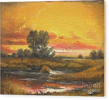 Delta Sunset Wood Print by Sorin Apostolescu