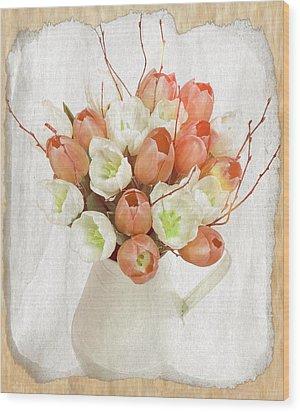 Deluxe Peach Tulips Wood Print by Debra  Miller