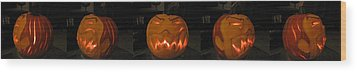 Demented Mister Ullman Pumpkin 2 Wood Print by Shawn Dall