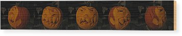 Demented Mister Ullman Pumpkin 3 Wood Print by Shawn Dall