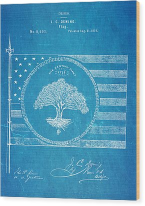 Deming Century Flag Patent Art 1875 Blueprint Wood Print by Ian Monk
