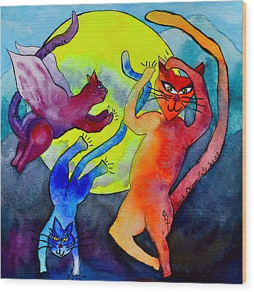 Demon Cats Dance By The Light Of The Moon Wood Print