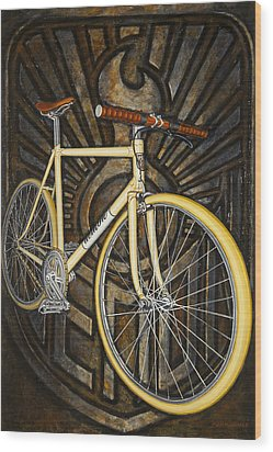 Wood Print featuring the painting Demon Path Racer Bicycle by Mark Howard Jones