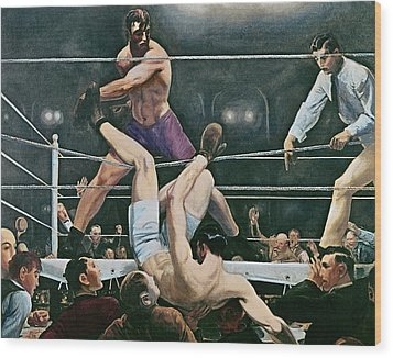 Dempsey V Firpo In New York City Wood Print by George Wesley Bellows