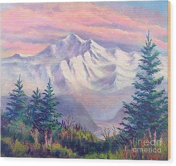 Denali Alpenglow Wood Print by Teresa Ascone
