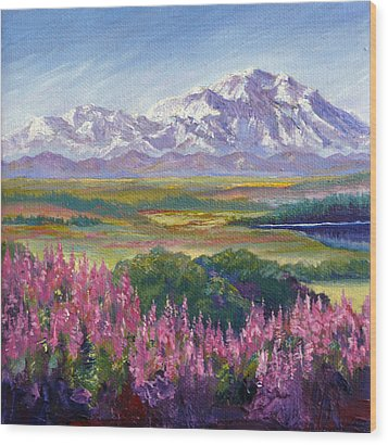 Denali And Fireweed Alaska Wood Print