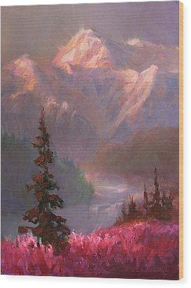 Denali Summer - Alaskan Mountains In Summer Wood Print by Karen Whitworth
