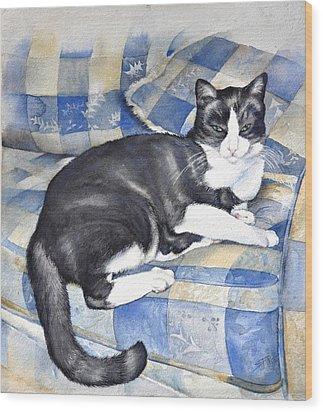 Denise's Cat Wood Print by Sandra Phryce-Jones