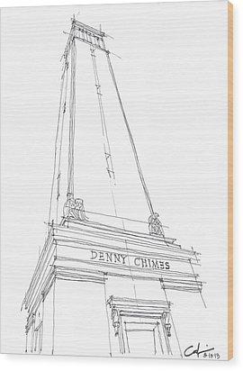 Denny Chimes Sketch Wood Print by Calvin Durham