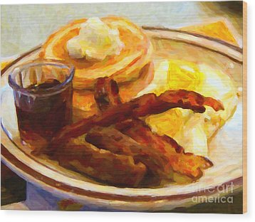 Denny's Grand Slam Breakfast - Painterly Wood Print by Wingsdomain Art and Photography