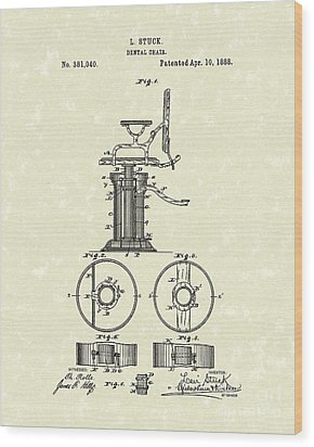Dental Chair 1888 Patent Art Wood Print by Prior Art Design