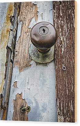 Dented Doorknob Wood Print by Caitlyn  Grasso
