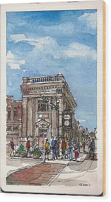 Wood Print featuring the mixed media Denton County National Bank by Tim Oliver