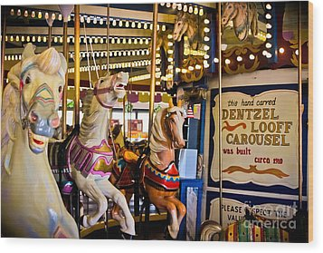 Dentzel Looff Antique Carousel  Wood Print by Colleen Kammerer