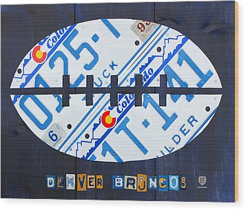 Denver Broncos Football License Plate Art Wood Print by Design Turnpike