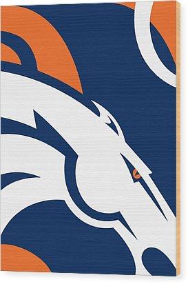 Denver Broncos Football Wood Print by Tony Rubino