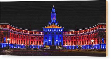 Denver City And Country Building In Bronco Blue And Orange Wood Print by Teri Virbickis