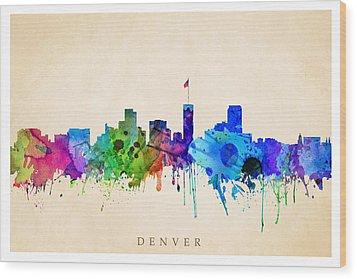 Denver Cityscape Wood Print