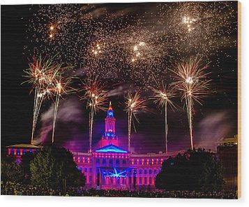 Denver Colorado Independence Eve Fireworks Wood Print by Teri Virbickis