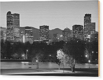 Denver Colorado Skyline In Black And White Wood Print