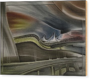 Wood Print featuring the pastel Denver Intl Airport 2010 by Glenn Bautista