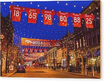 Denver Larimer Square Blue Hour Nfl United In Orange Wood Print by Teri Virbickis