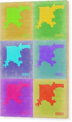 Denver Pop Art Map 3 Wood Print by Naxart Studio