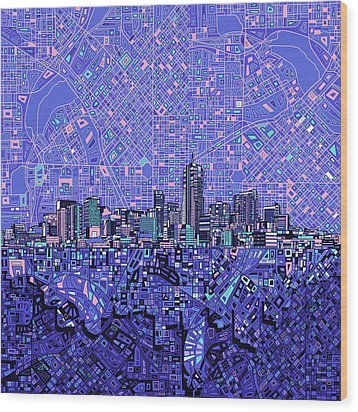 Denver Skyline Abstract 4 Wood Print