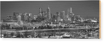 Wood Print featuring the photograph Denver Skyline At Dusk Black And White Bw Evening Panorama Broncos Colorado  by Jon Holiday