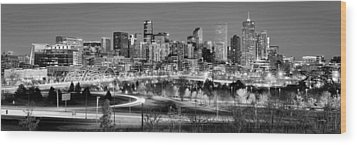 Wood Print featuring the photograph Denver Skyline At Dusk Evening Bw Black And White Evening Panorama Broncos Colorado  by Jon Holiday