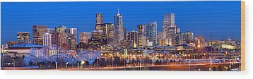 Wood Print featuring the photograph Denver Skyline At Dusk Evening Color Evening Extra Wide Panorama Broncos by Jon Holiday