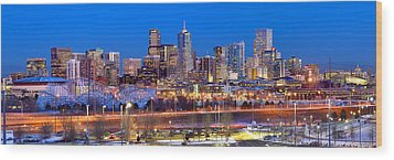 Wood Print featuring the photograph Denver Skyline At Dusk Evening Color Evening Panorama Broncos Colorado  by Jon Holiday
