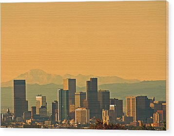 Denver Skyline Wood Print by Colleen Coccia