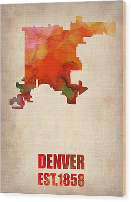 Denver Watercolor Map Wood Print by Naxart Studio