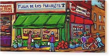 Depanneur Coca Cola Marche Fleuriste Maison De Pain Montreal Street Hockey Scenes Quebec Art  Wood Print by Carole Spandau