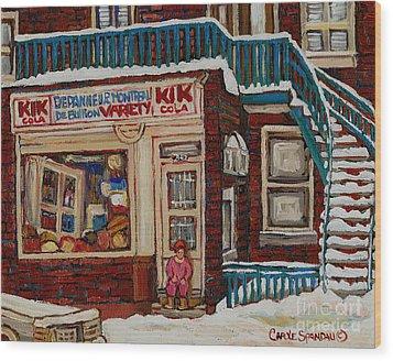 Depanneur Kik Cola Montreal Wood Print by Carole Spandau