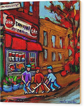 Depanneur  Marche Epicerie Montreal Summer Street Hockey Painting South West City Scene Wood Print by Carole Spandau