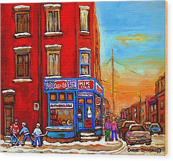 Depanneur Marche Fruits Verdun Restaurant Smoked Meat Deli  Montreal Winter Scene Paintings  Hockey  Wood Print by Carole Spandau
