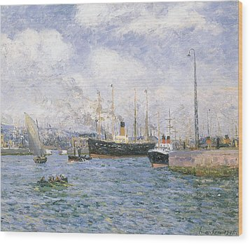 Departure From Havre Wood Print by Maxime Emile Louis Maufra