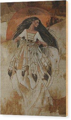 Departure Of White Buffalo Woman Wood Print