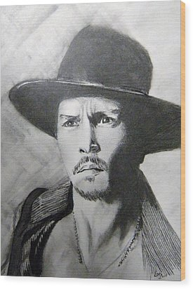 Wood Print featuring the drawing Depp by Lori Ippolito
