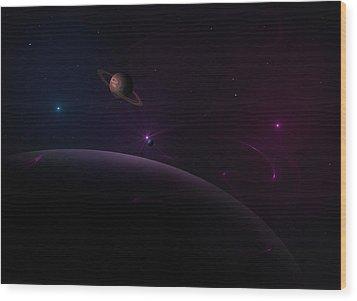 Depth Of Space Wood Print by Ricky Haug